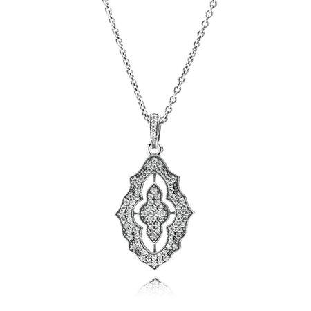 Sparkling Lace Pendant Necklace, Clear CZ, Sterling silver, Cubic Zirconia - PANDORA - #390362CZ