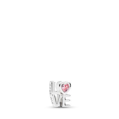 Mini AMOUR, cz rose, Argent sterling, Aucun autre matériel, Aucune couleur, Zircon cubique - PANDORA - #792161PCZ
