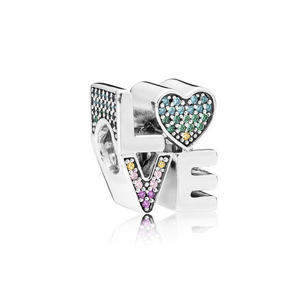 Multi-colour Love Charm, Multi-coloured CZ