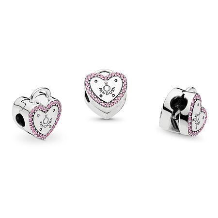 Clip Scellez votre promesse, cz rose fuchsia fantaisie, Argent sterling, Aucun autre matériel, Rose, Zircon cubique - PANDORA - #796556FPC