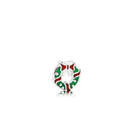 Holiday Wreath Petite Charm, Berry Red & Green Enamel