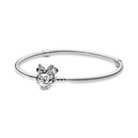 Disney, Bracelet de charms classique Portrait chatoyant de Minnie, Argent sterling, Aucun autre matériel, Aucune couleur, Zircon cubique - PANDORA - #597770CZ-23