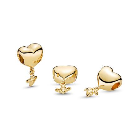 Charm composé d'un cœur et d'une abeille, PANDORAShineMC, Or Plaqué 18ct, Aucun autre matériel, Aucune couleur, Aucune pierre - PANDORA - #767022