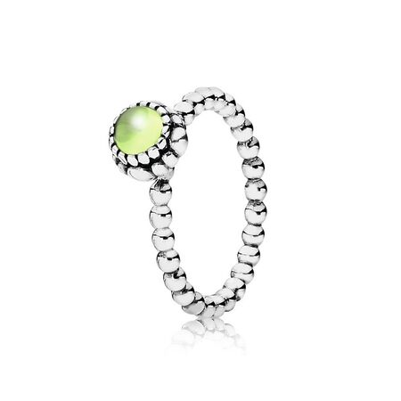 Silver ring, birthstone-August, peridot