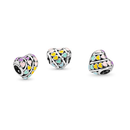 Multi-Colour Hearts Charm, Mixed Enamel, Sterling silver, Enamel, Blue - PANDORA - #797019ENMX