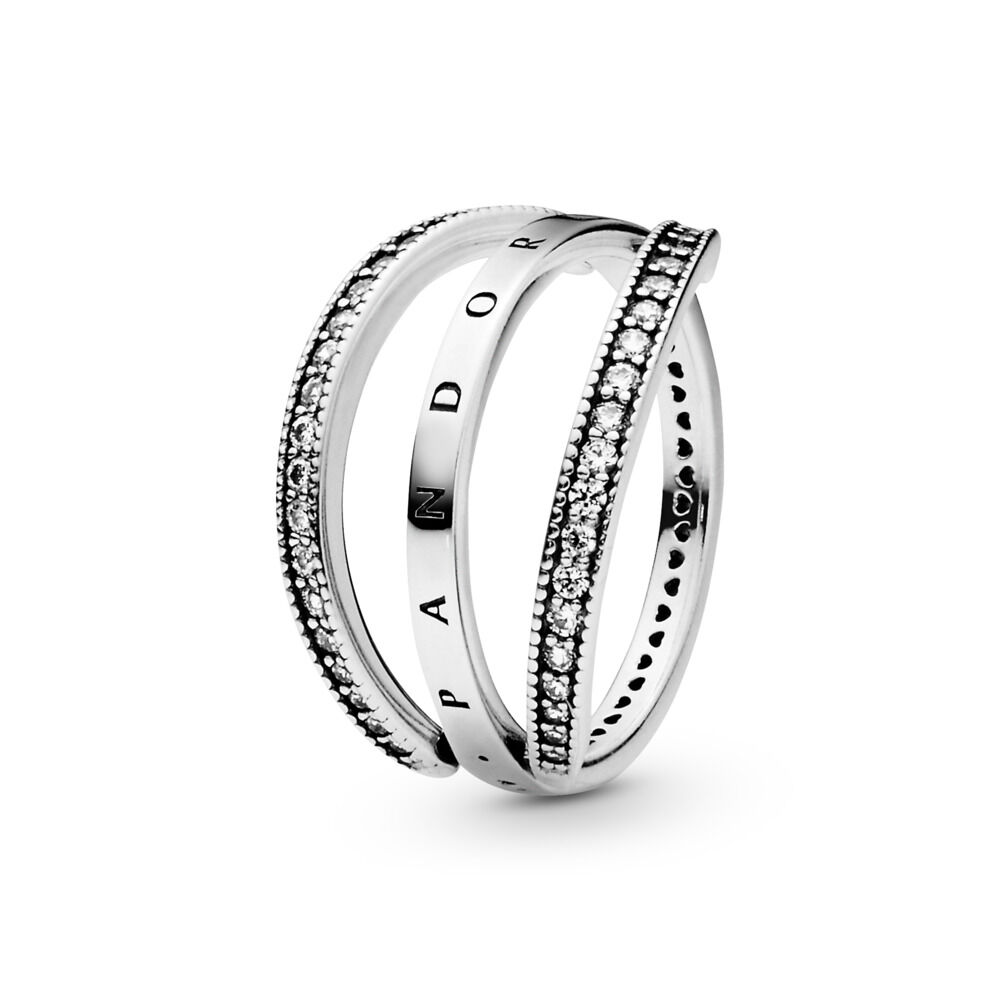 5114ffe11 Flipping Hearts of PANDORA Ring, Clear CZ