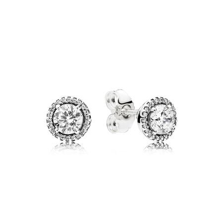 Classic Elegance Stud Earrings, Clear CZ