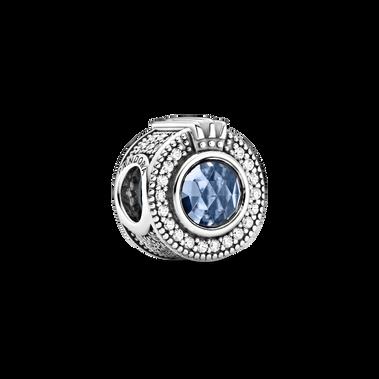 Charm «O» couronné bleu scintillant