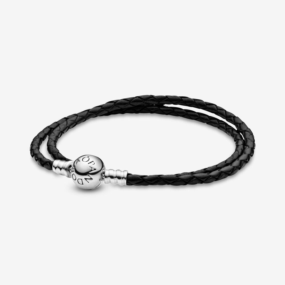 Bracelet double en cuir noir Pandora Moments | Argent sterling ...