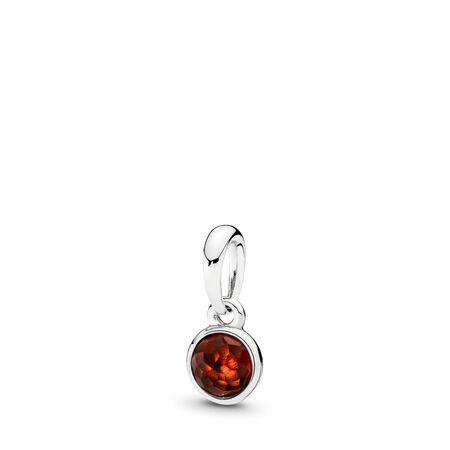 January Droplet, Garnet, Sterling silver, Red, Garnet - PANDORA - #390396GR