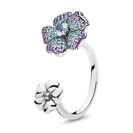 Glorious Blooms Ring, Multi-coloured CZ, Sterling silver, Blue, Crystal - PANDORA - #197086NRPMX