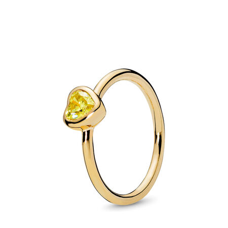 Radiant Heart Ring, PANDORA Shine™ & Yellow Cubic Zirconia, 18ct gold-plated sterling silver, Yellow, Cubic Zirconia - PANDORA - #167089CSY-50