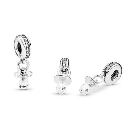 Pacifier, Clear CZ, Sterling silver, Cubic Zirconia - PANDORA - #791890CZ