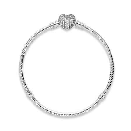 Pavé Heart Bracelet, Clear CZ, Sterling silver, Cubic Zirconia - PANDORA - #590727CZ