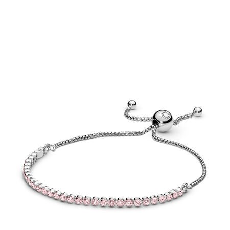 Pink Sparkling Strand Bracelet, Pink CZ, Sterling silver, Silicone, Pink, Cubic Zirconia - PANDORA - #590524PCZ