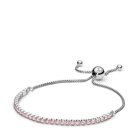 Bracelet Fil scintillant, cz rose, Argent sterling, Silicone, Rose, Zircon cubique - PANDORA - #590524PCZ
