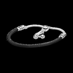 Pandora Moments Black Leather Slider Bracelet