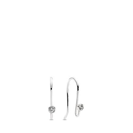 Charm Post Earrings, Clear CZ, Sterling silver, Cubic Zirconia - PANDORA - #290677CZ