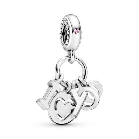 Breloque pendentif lettres I Love You, Argent sterling, Aucun autre matériel, Rose, Zircon cubique - PANDORA - #796596FPC