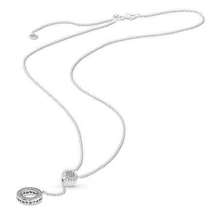 PANDORA Signature Necklace, Clear CZ, Sterling silver, Silicone, Cubic Zirconia - PANDORA - #397445CZ