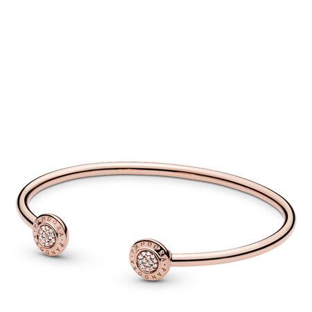 PANDORA Signature Open Bangle Bracelet, PANDORA Rose™, PANDORA Rose, Cubic Zirconia - PANDORA - #580528CZ