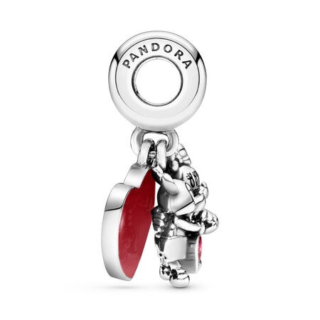 Disney, Minnie & Mickey With Love Dangle Charm, Sterling silver, Enamel, Cubic Zirconia - PANDORA - #797769CZR
