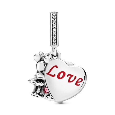 Charm-pendentif Disney, Minnie et Mickey avec amour, Argent sterling, émail, Aucune couleur, Zircon cubique - PANDORA - #797769CZR