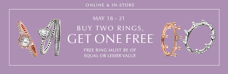 Online & In-Store May 18 - 21: Buy Two Rings, Get One FREE. Free ring must be of equal or lesser value.