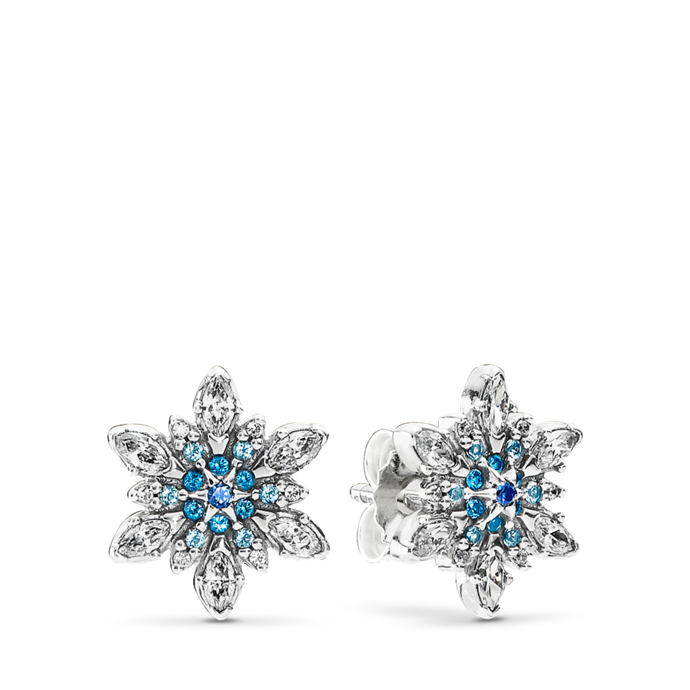Crystalized Snowflake, Blue Crystals & Clear CZ, Sterling silver, Blue, Mixed stones - PANDORA - #290590NBLMX