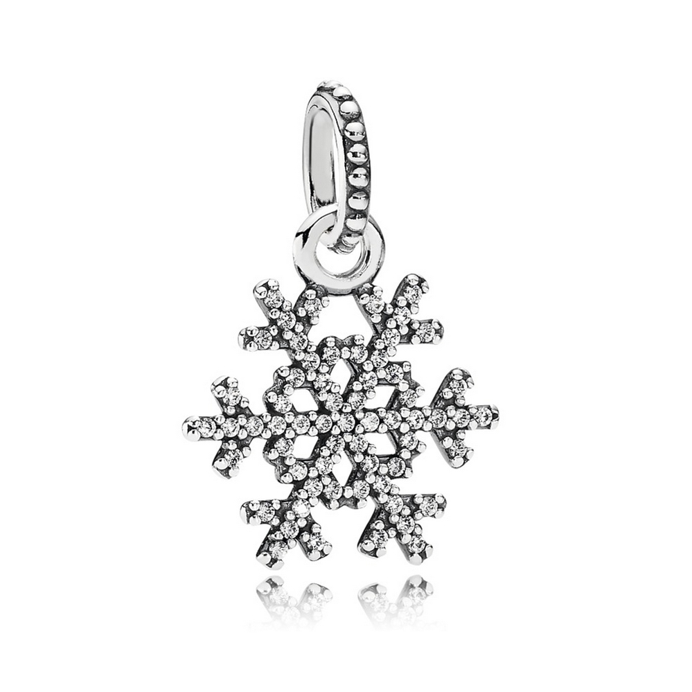 Winter Kiss Snowflake Pendant, Clear CZ