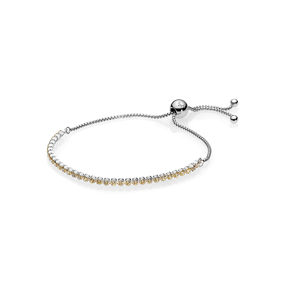 Golden Sparkling Strand Bracelet, Golden-Colored CZ