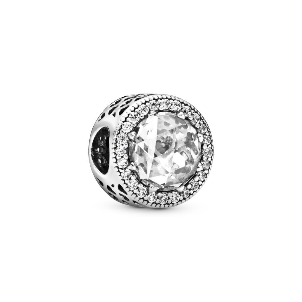 Cœurs radieux, cz incolore, Argent sterling, Aucun autre matériel, Aucune couleur, Zircon cubique - PANDORA - #791725CZ