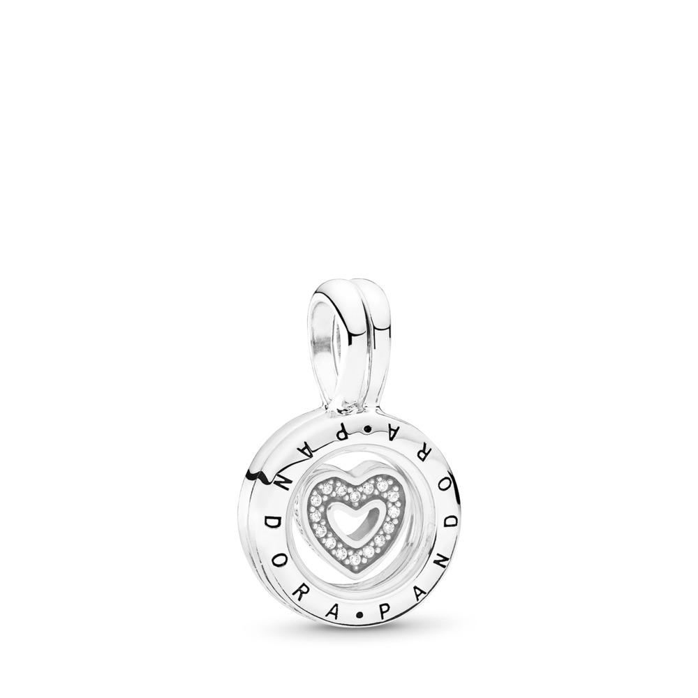 PANDORA Floating Locket, Sapphire Crystal Glass & Clear CZ, Sterling silver, Glass, Cubic Zirconia - PANDORA - #792144CZ
