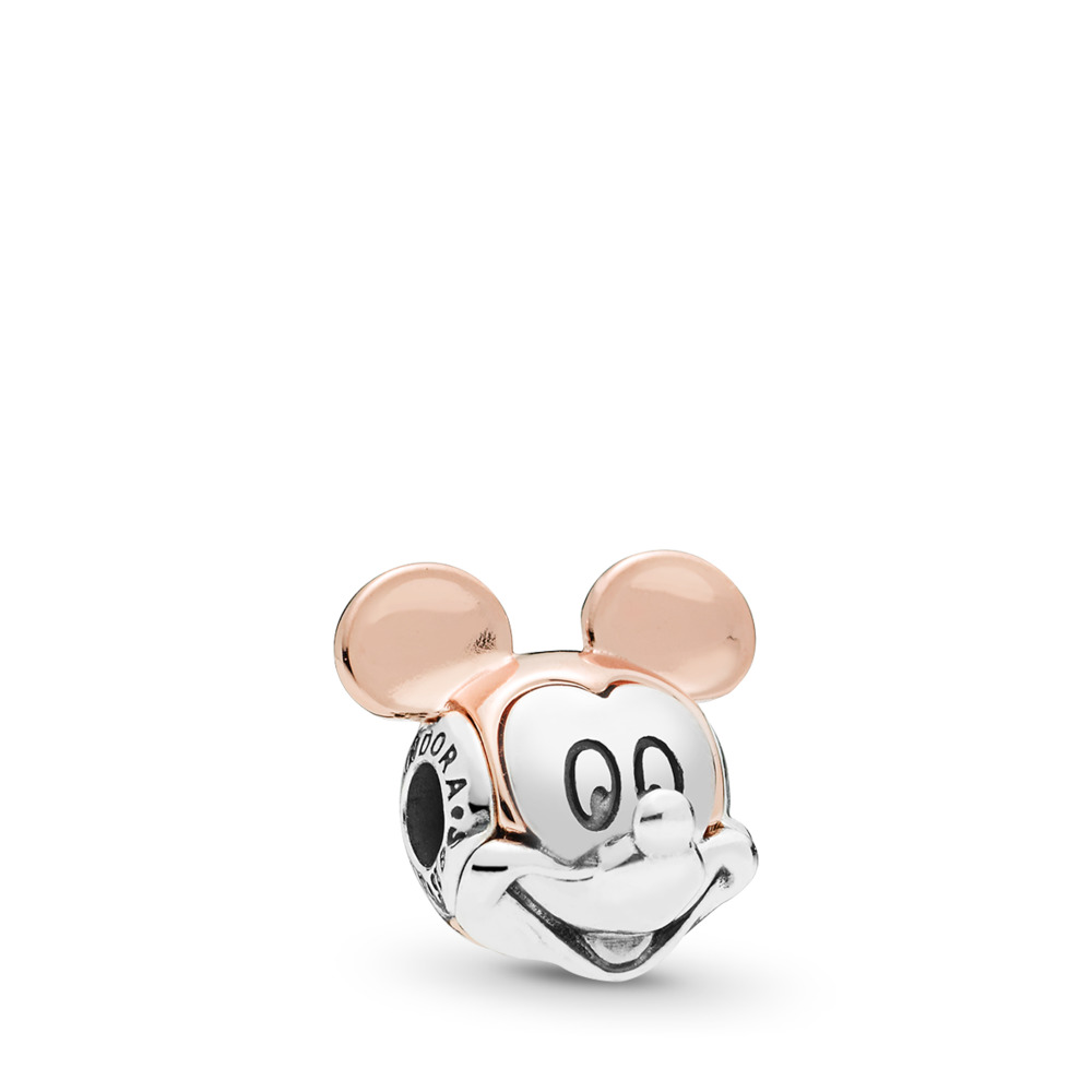 Disney, Two-tone Mickey Portrait ESSENCE Charm, PANDORA Rose™, PANDORA Rose with sterling silver, Silicone - PANDORA - #787503