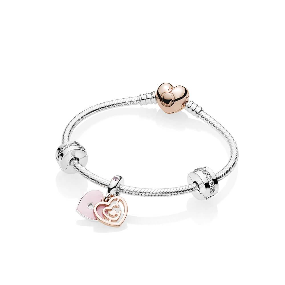 Fun In Love Bracelet Gift Set, PANDORA Rose, Enamel, Pink, Cubic Zirconia - PANDORA - #B801110