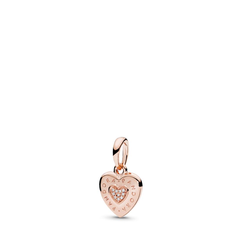 Pendentif Cœur Signature de PANDORA, PANDORARose et cz incolore, PANDORA ROSE, Aucun autre matériel, Aucune couleur, Zircon cubique - PANDORA - #387376CZ