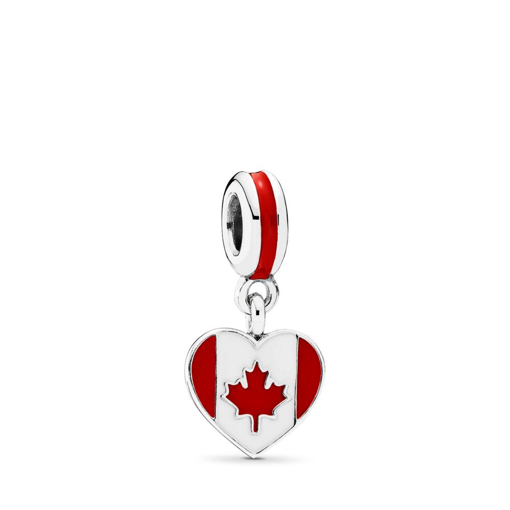 Canada Heart Flag, Red & White Enamel, Sterling silver, Enamel, Red - PANDORA - #791954ENMX