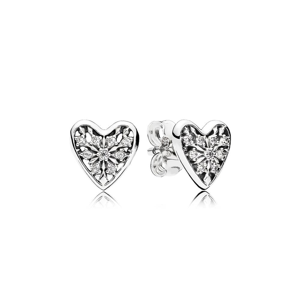 Hearts of Winter Stud Earrings, Clear CZ