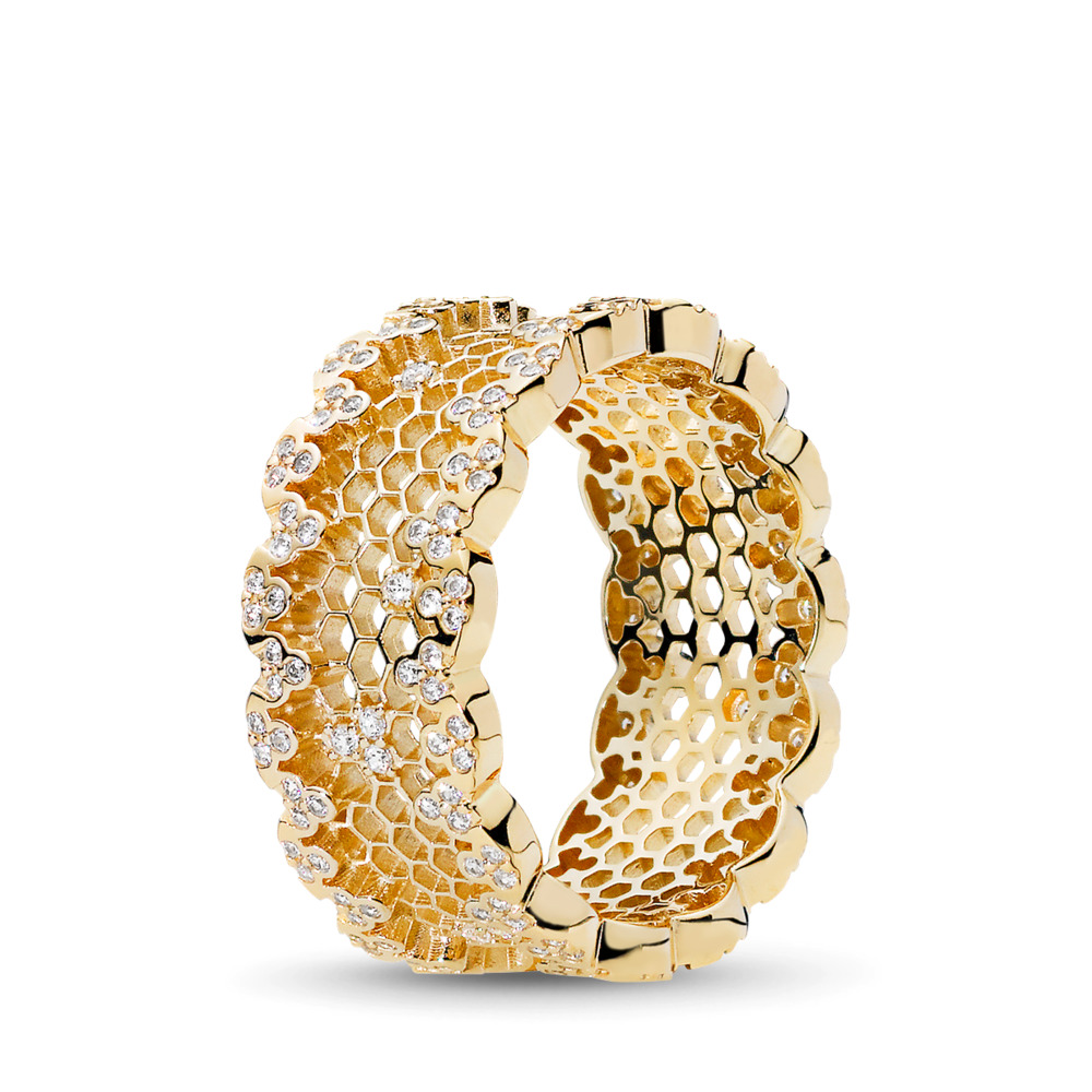 Honeycomb Lace Ring, PANDORA Shine™ & Clear CZ, 18ct gold-plated sterling silver, Cubic Zirconia - PANDORA - #167100CZ