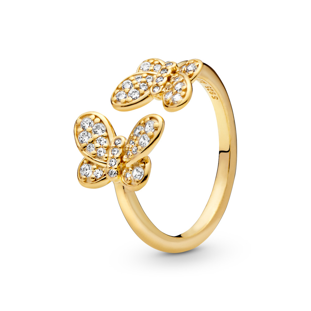 Dazzling Butterflies Ring, 18ct gold-plated sterling silver, Cubic Zirconia - PANDORA - #167913CZ