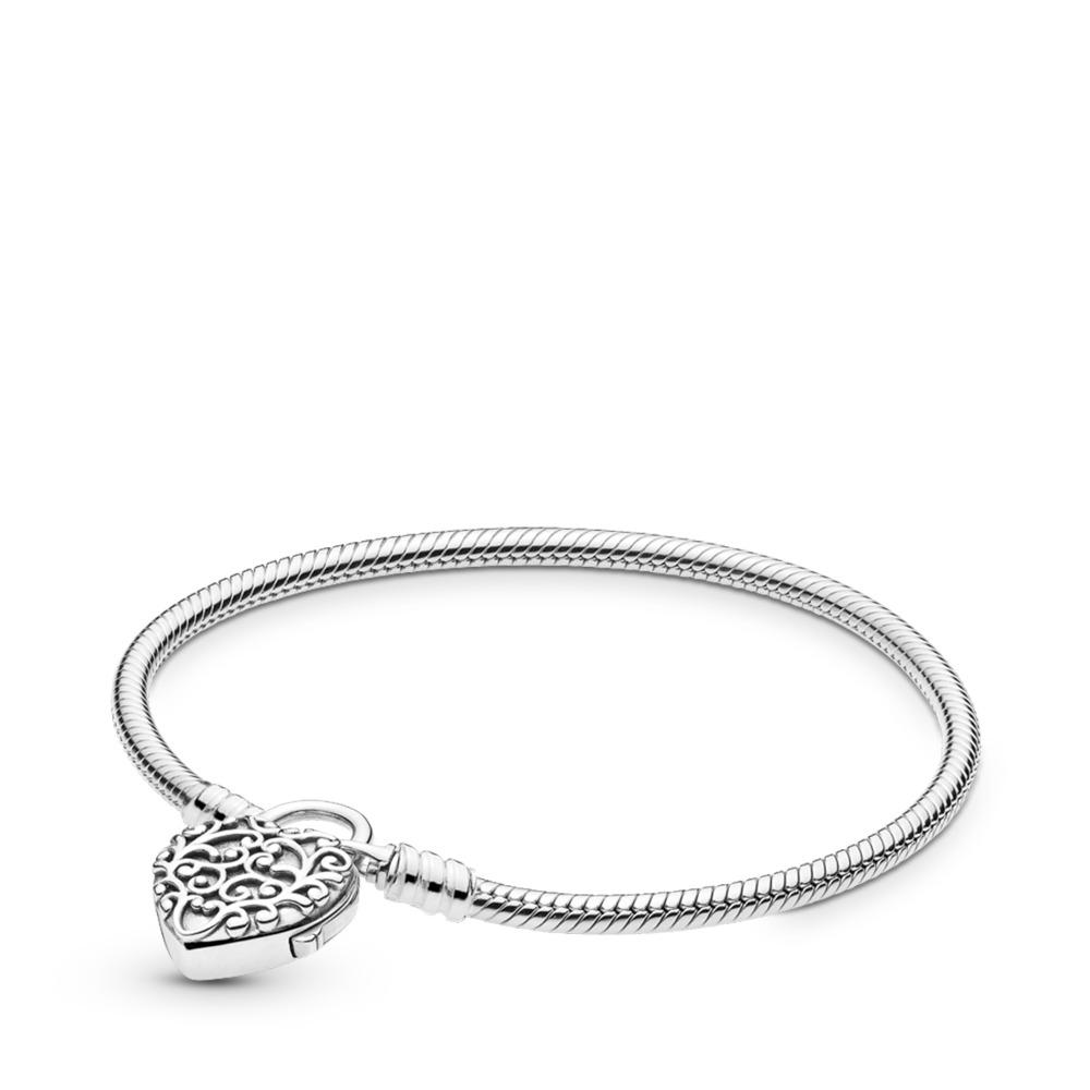 Bracelet Cadenas uni en argent, Cœur royal, Argent sterling, Aucun autre matériel, Aucune couleur, Aucune pierre - PANDORA - #597602