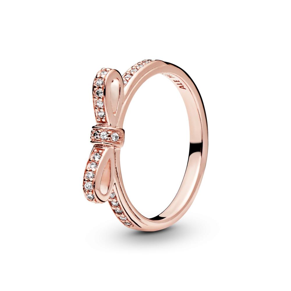 Nœud étincelant, Rose, cz incolore, PANDORA ROSE, Aucun autre matériel, Aucune couleur, Zircon cubique - PANDORA - #180906CZ