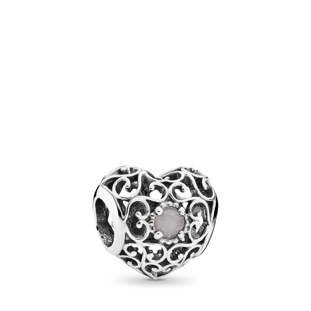 June Signature Heart, Grey Moonstone, Sterling silver, Grey, Moonstone - PANDORA - #791784MSG