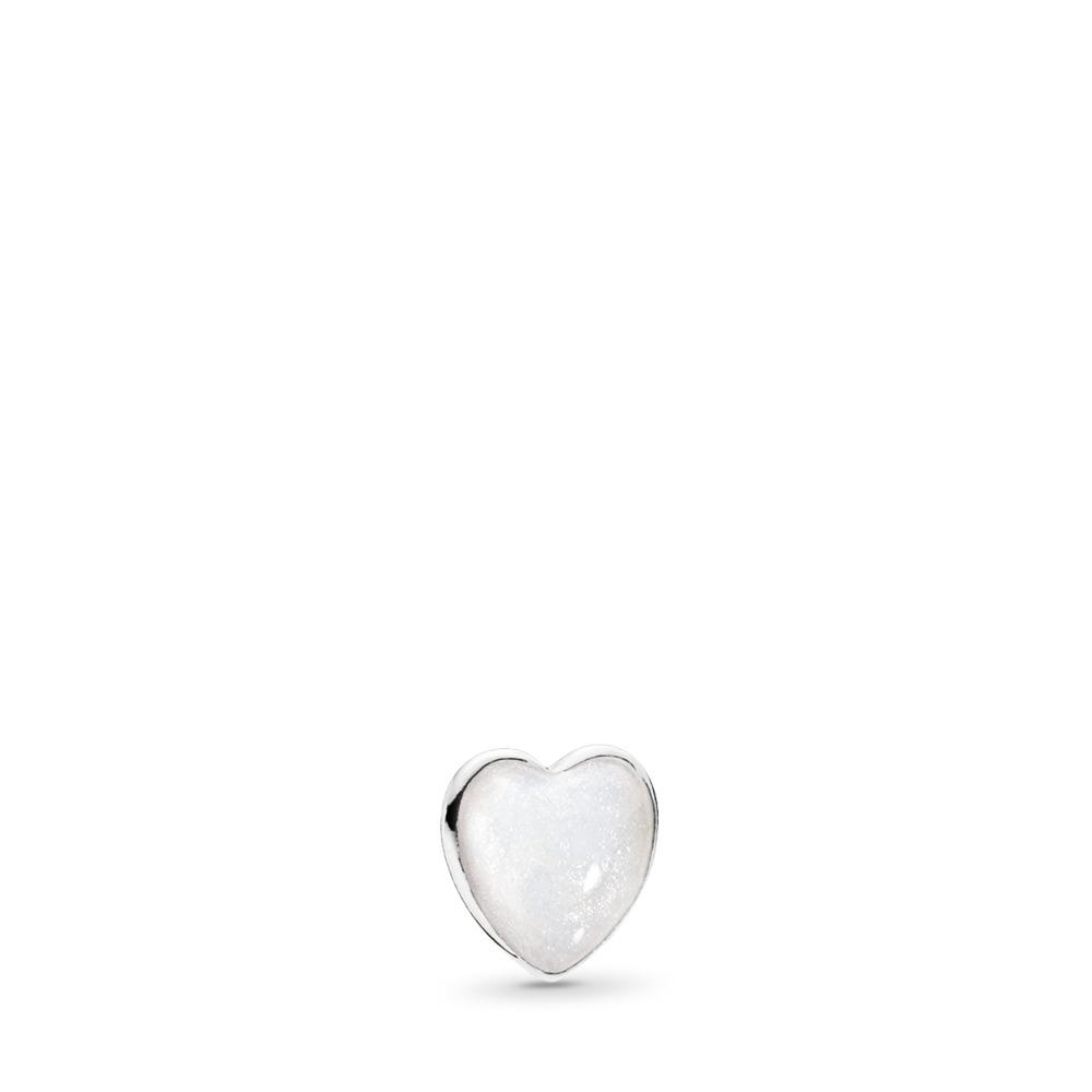 Mini cœur, émail argenté scintillant, Argent sterling, émail, Aucune couleur, Aucune pierre - PANDORA - #792169EN23