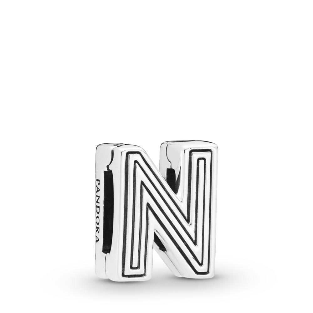 Charm Lettre N Pandora Reflexions, Argent sterling, Silicone, Aucune couleur, Aucune pierre - PANDORA - #798210