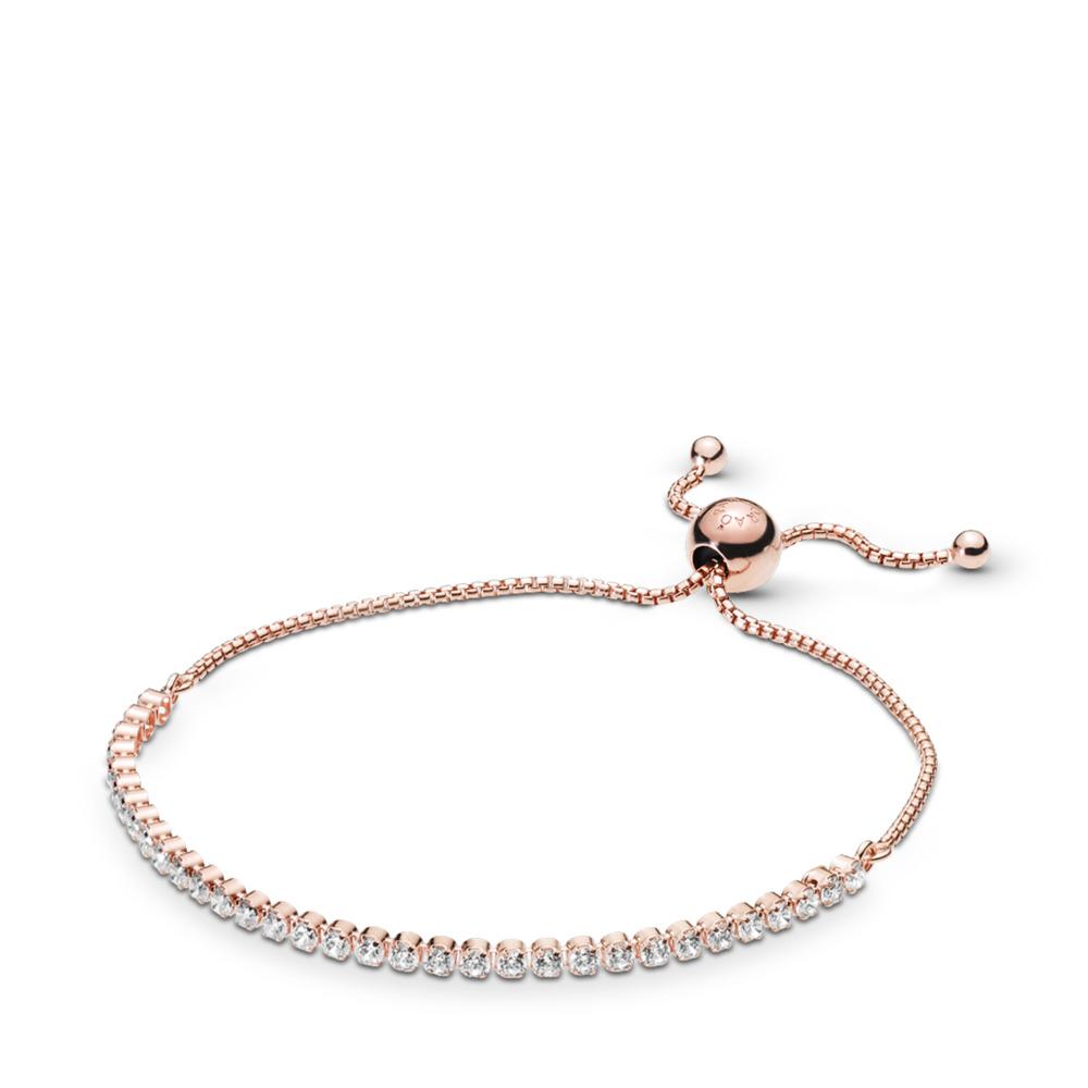 Bracelet Fil scintillant, PANDORA Rose et cz incolore, PANDORA ROSE, Silicone, Aucune couleur, Zircon cubique - PANDORA - #580524CZ