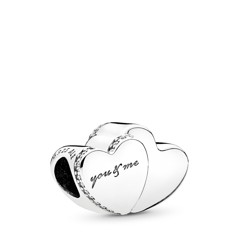 Two Hearts Charm, Clear CZ, Sterling silver, Cubic Zirconia - PANDORA - #796560CZ