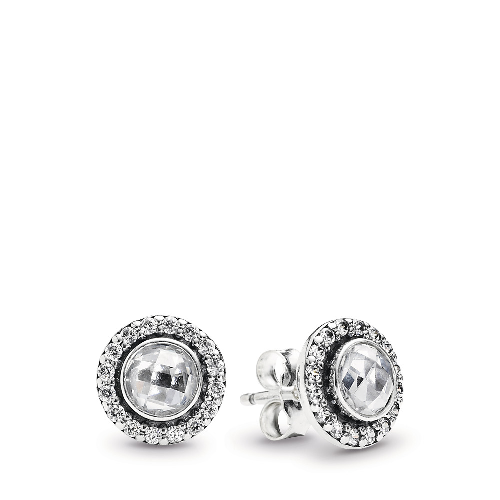 946cb373f Brilliant Legacy Stud Earrings, Clear CZ, Sterling silver, Cubic Zirconia -  PANDORA -