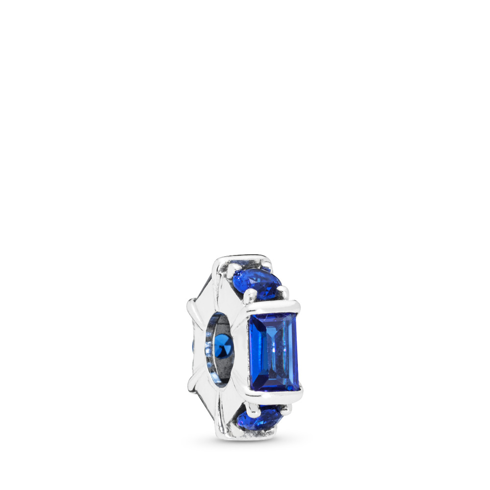 Ice Sculpture Blue CZ Spacer, Sterling silver, Blue, Crystal - PANDORA - #797529NSBL