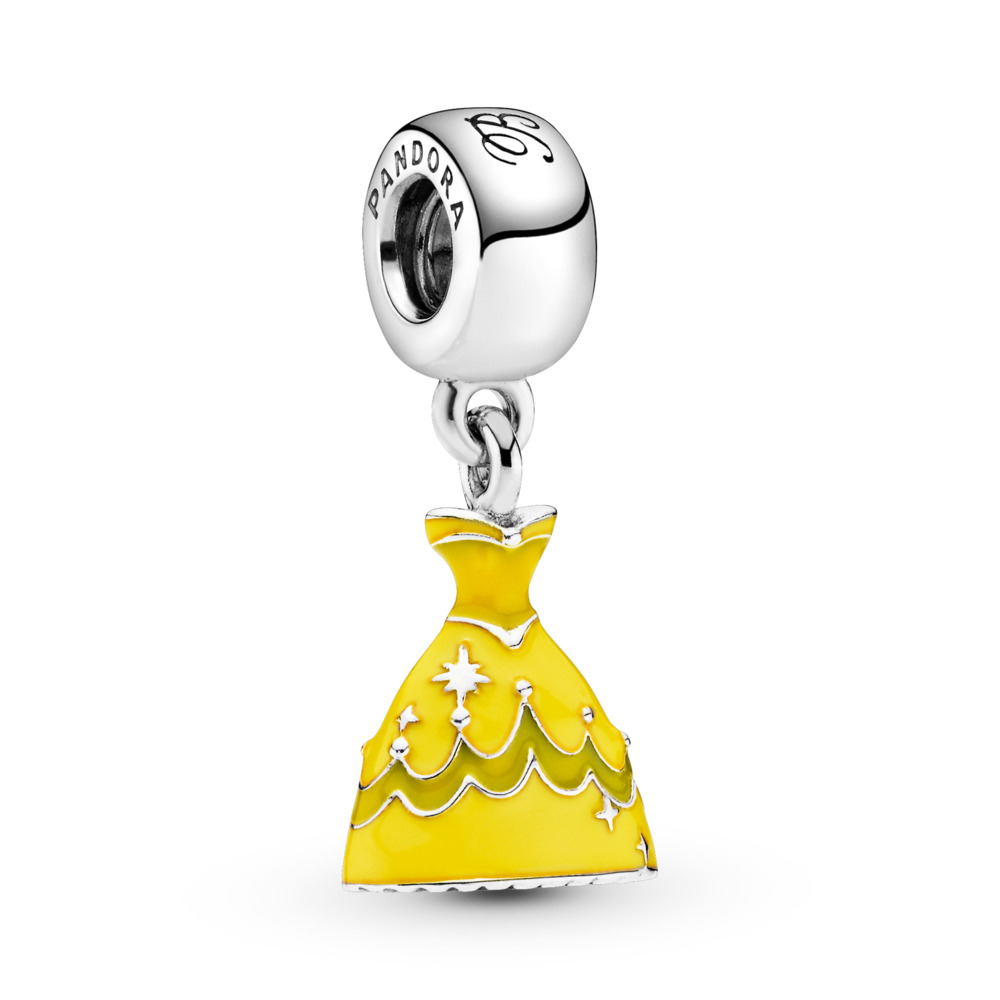 Disney, Belle's Dress, Sterling silver, Enamel, Yellow - PANDORA - #791576ENMX